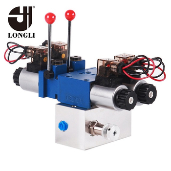 LL265 Hydraulic Directional Solenoid Directional Manifold Valve Set with Emergency Manual Control Lever